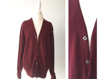 90s Vintage Grandpa Cardigan by Towncraft, Vintage Golf Sweater, Burgundy Acrylic, Size L