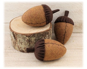 Acorns Autumn Bowl Fillers 3-Set Fall Country Primitive