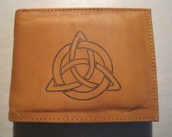 """Mankind Wallets Men's Leather RFID Blocking Billfold w/ """"Celtic Trinity Knot"""" Image-Makes A Great Gift!"""