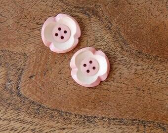 1930's Vintage casein BUTTON SET two-tone Pink & white Flowers