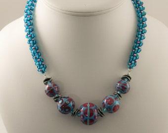 Rose on Turquoise Bead Set Kumihimo Necklace