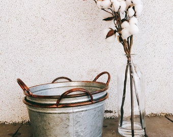 Galvanized Bucket | Metal Bucket | Metal Pail | centerpeice  | Farmhouse | Rustic Wedding| Centerpeice  | farmhouse canister / canister