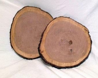 "8 Cherry Wood Log Slice 10"" to 12"" Rustic Crafts Wedding Cabin Decor Disk"