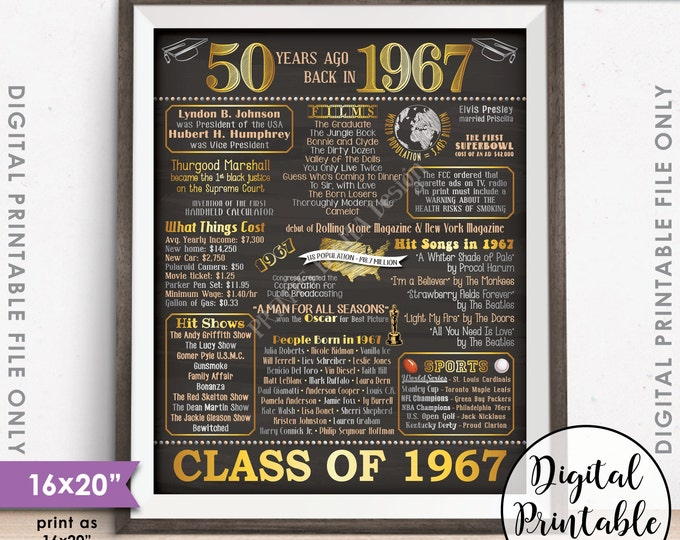 "50th Reunion Gift 1967 Poster, 50 Years USA Flashback Instant Download 8x10/16x20"" Class of 1967 Graduated in 67, Chalkboard Style Printable"