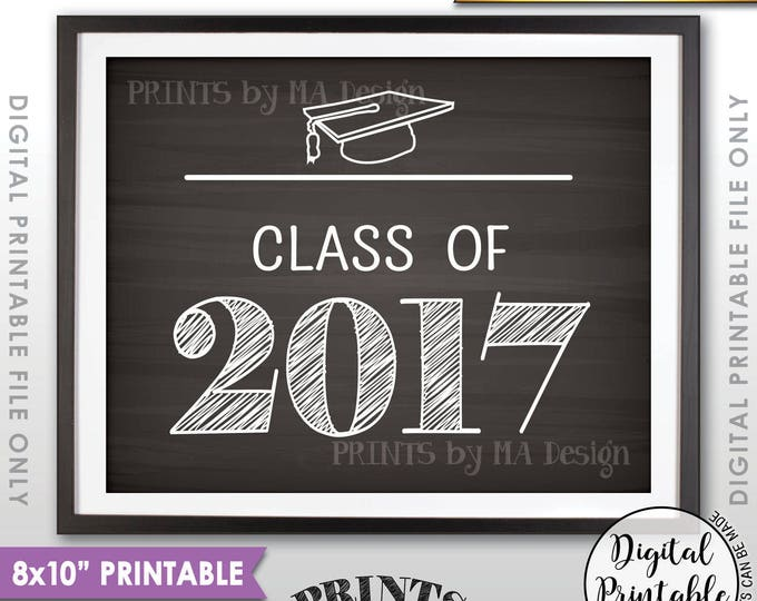 "Class of 2017 Graduation Party Decor, High School Graduation 2017 College Graduation Sign, 8x10"" Chalkboard Style Printable Instant Download"