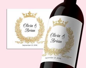 wedding wine bottle labels etsy