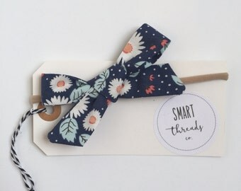 Baby Girl Bow Headband | schoolgirl | hair accessories, bows, hair bows, blue, smartthreadsco