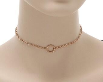 Circle Choker, Trendy Circle Choker, Circle Necklace, Rose Gold Circle, Gold Circle,