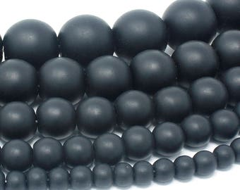 "Matte Black Onyx Beads Natural Gemstone Round Loose - 4mm 6mm 8mm 10mm 12mm - 15.5"" Strand"