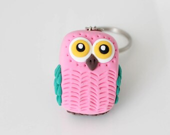 Pink and green Owl keychain