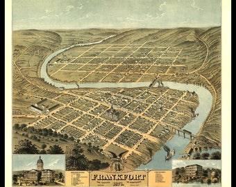 Panoramic Map of Frankfort, KY. 1871. Shown with Frame only for Display, Print only. This is a wall decoration not a Road Map.