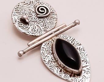 925 Solid Sterling Fine Silver Black Onyx Pendant