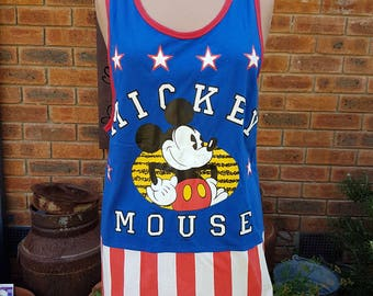 Vintage Disney Mickey Mouse Licensed Basketball Singlet Jersey Top 1990s in American Flag colours