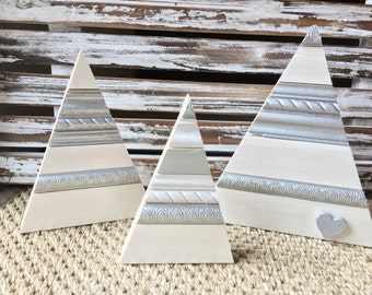 Wood Trees | White and Silver | Set of Three
