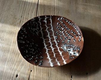 Cornish Studio Pottery Slab Dish with Slip Decoration
