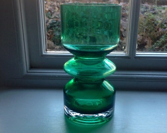 Retro Green Glass Vessel hooped mid-century.