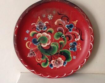 Vintage Folk Art Tole Bargeware Red Wooden Dish