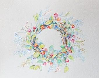 Original watercolor painting wreath with berries, summer wreath