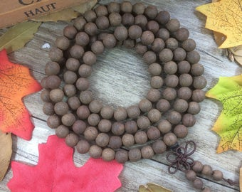 108pc 8mm/6mm Aromatic Dark Brown Soil Color Alsewood Eaglewood Beads Meditation Buddhist Japa Mala Necklace