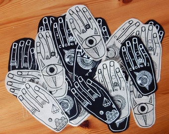 Hands Patch - Black. tattoo hand body art punk metal patch D.I.Y sew on ink