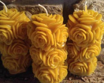 Beeswax Candle, Rose Pillar