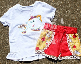 Toddler Girls Boutique Shorts- Girls Boutique Shorts- Beauty and the Beast Size 3t Ready to Ship shorts-6m, 12m, 18m, 2t, 3t 4t, 5, 6,8