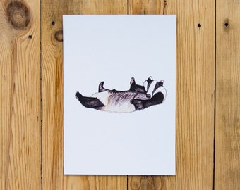 Badger Illustrated Watercolour A5 Print - British Wildlife Series