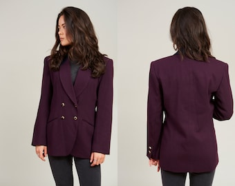 Sale! 90s Kasper Deep Plum Purple Wool Double Breasted Blazer Jacket • M