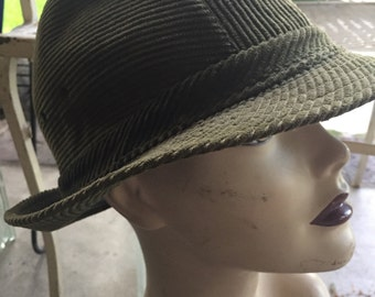 Vintage cap olive green corduroy hat 1980's size 59 large