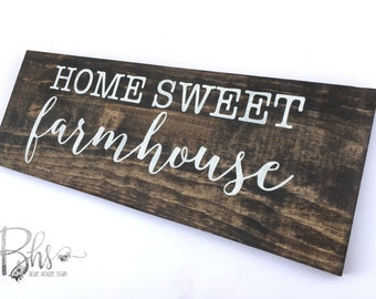 wood sign - wooden sign - Home sweet home - farmhouse - cottage chic - rustic - home decor - decor