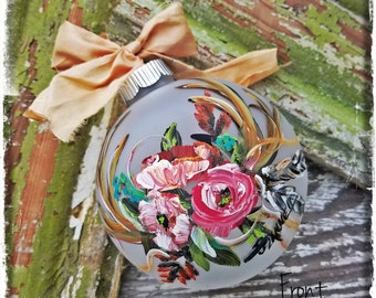 Hand Painted Frosted Glass Ornament