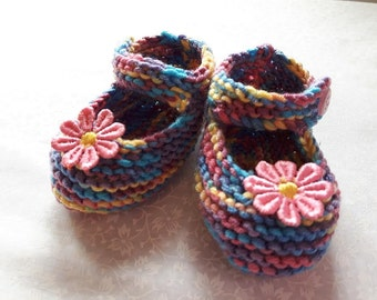 Baby girl shoes Baby girl knitted shoes Mary Jane style baby girl shoe multi colours Babies Knitted Shoe baby gift lace flower baby shower