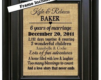 framed personalized 6th wedding anniversary gift6th anniversary gifts6 years marriageanniversary