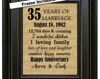 FRAMED 35th Wedding Anniversary/35th Anniversary Gifts/35th Wedding Anniversary Gifts/35th Anniversary Burlap Print/Gift for parents