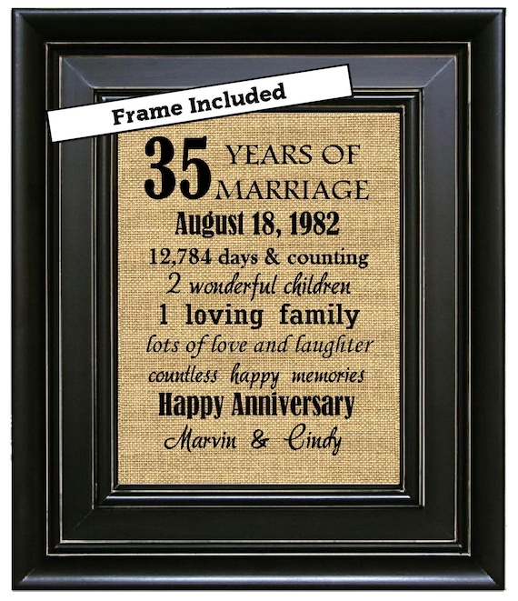 35th Wedding Anniversary Gift Ideas For Parents: FRAMED 35th Wedding Anniversary/35th Anniversary Gifts/35th