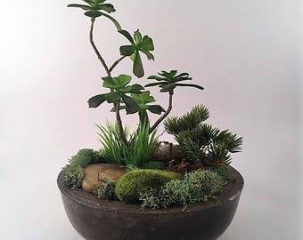 Moss Garden / artificial floral arrangement / moss floral arrangement / artificial succulent arrangement / home decor / concrete planter