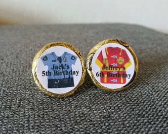 100 Personalized Firefighter/Fireman/Police Officer Birthday Kiss Candy/Mini Bubbles Labels@**Peel & Stick