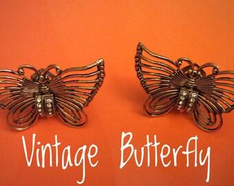 Vintage earrings Vintage rhinestone Butterfly and Butterfly earrings ' 80