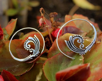 Tribal Spiral German silver and Brass Earrings - Wave-shaped