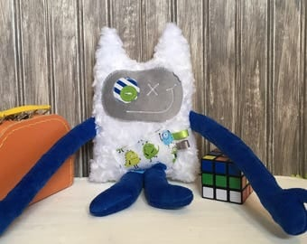Hug Monster, handmade plush toy,  dark blue and grey with monsters print,friendly monster for child,unique  birthday gift, ready to go