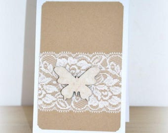 Congratulations card wedding Butterfly wood and lace