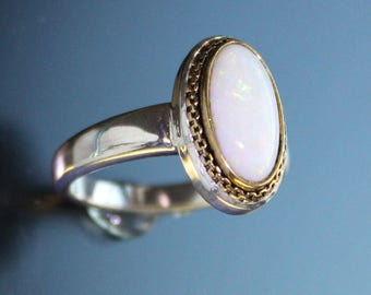 Opal Ring Sterling Silver Mixed Metal Design Handmade