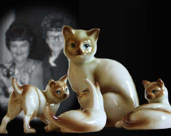 Midcentury Siamese Cat Figurine Family--Mother and 3 Kittens!