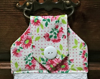 Vintage Polka-dot, floral, pink, green hanging hand towel, kitchen towel, decorative towel