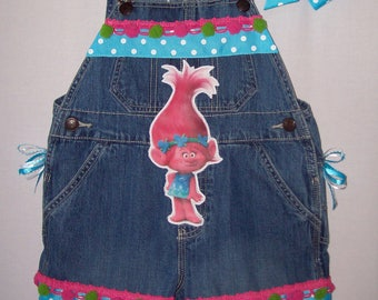 Custom boutique Trolls Poppy overalls Made to Order All little girls sizes available