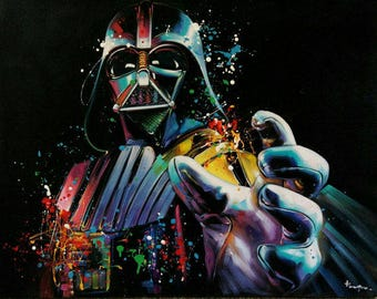 Star wars painting,oil painting of star wars,star wars painting by kampon