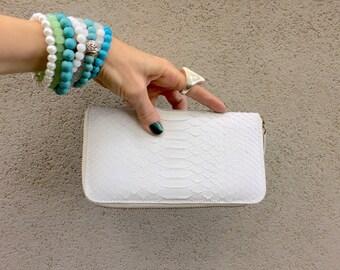 White Python Skin Wallet, Snake Skin Wallet, Ivory Wallet, White Wallet, Leather Wallet Called Sophia