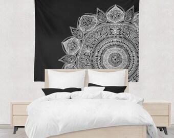 Black And White Mandala Wall Tapestry Yoga Meditation Mandala Wall Hanging