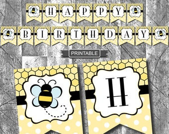 DIY Printable Bee Happy Birthday Banner Themed Party Decorations Bunting Flags Yellow Black Digital
