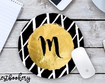 Initial Mousepad - Gold Mousepad - Modern Mousepad - Black and White Mousepad- Custom Mousepad - Personalized Mousepad - Office Gift